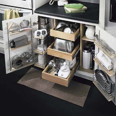 kitchen cabinet with pull out drawers and shelves