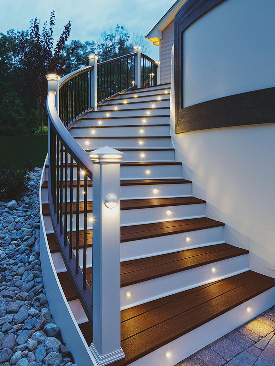 well lit patio stairs